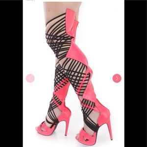 Neon pink over the knee straps boots sandals new 7